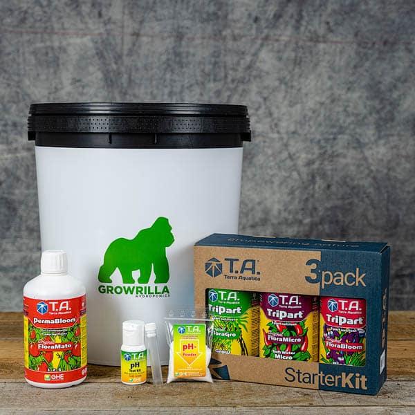 Growrilla Hydroponics Growing Kit DWC 1 x 19 liter container with TA Tripart Nutrients, PermaBloom, pH test kit | GrowZone.seCopyright © Kristian Adolfsson / adolfsson.photo