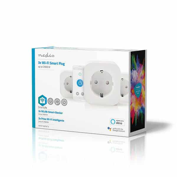 Nedis SmartLife Smart Plug | Trådlöst uttag x 3 WIFIP130FWT3 Schuko Type F Euro Smart Home Wifi (5412810313815)