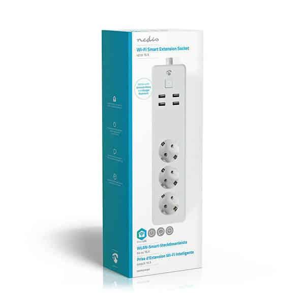 Nedis Wi-Fi Grenuttag | Extension Socket Smart Plug USBWIFIP311FWT Smart Home | Smarta Hem USB Schuko Type F (5412810324255)