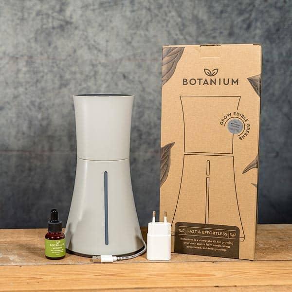 Botanium Självvattnande Kruka grå /askgrå, innehåll | Self-watering planter / pot Ash grey, contents, GrowZone.se Hydroponics