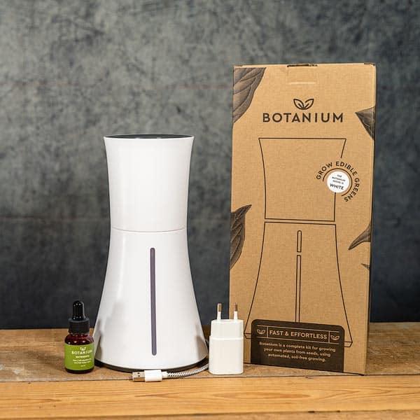 Botanium Självvattnande Kruka vit / rökvit, innehåll | Self-watering planter / pot Smoke white, contents, GrowZone.se Hydroponics