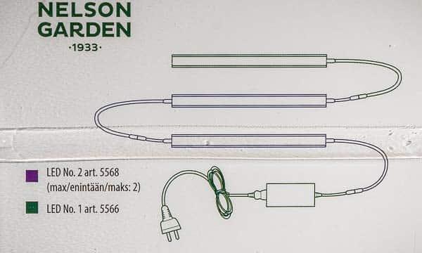 Nelson Garden LED no. 1 + LED No. 2, 60 cm, 15 W, Grow Light 5566 + 5568   Växtbelysning, Grow Zone Scandinavia
